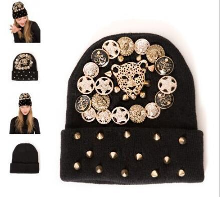 2016 Fashion Hip Hop Knitted Beanies Caps Punk Rivet Warm Winter Knit Hats Female Leopard Head Beanie Hat Sets Of Headgear цены онлайн