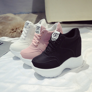 super popular 515f7 00fd2 Zapatos vulcanizados de cuero de PU Blanco/Negro/Rosa zapatillas para mujer  moda tacones altos zapatillas gruesas Mujer zapatos de plataforma zapatos