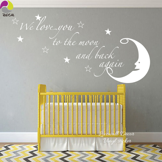 We love you to the moon and back again quote wall sticker moon star saying quote
