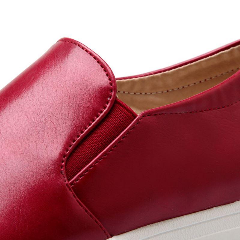 bleu Bout Mocassins Razamaza Femmes rouge Classique 4 43 Couleur Chaussures blanc Unie Footwears Rond 34 Couleurs Loisirs Fond Noir Taille Épais WUWvzq