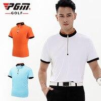 PGM Golf Clothing Men S Golf Polo Shirts Summer Breathable Elastic Golf Short Sleeved Uniforms White