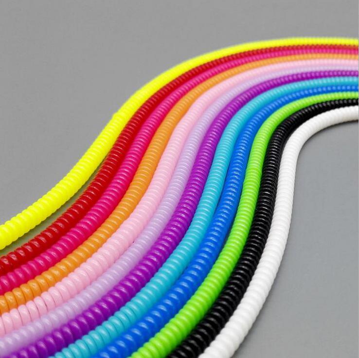 1000 шт./лот * одноцветное Цвет Пластик Спираль USB Зарядное устройство кабель протектор <font><b>Wrap</b></font> намотки кабеля для зарядки Кабели ORGANIZER (ОРГАНАЙЗЕР),&#8230;