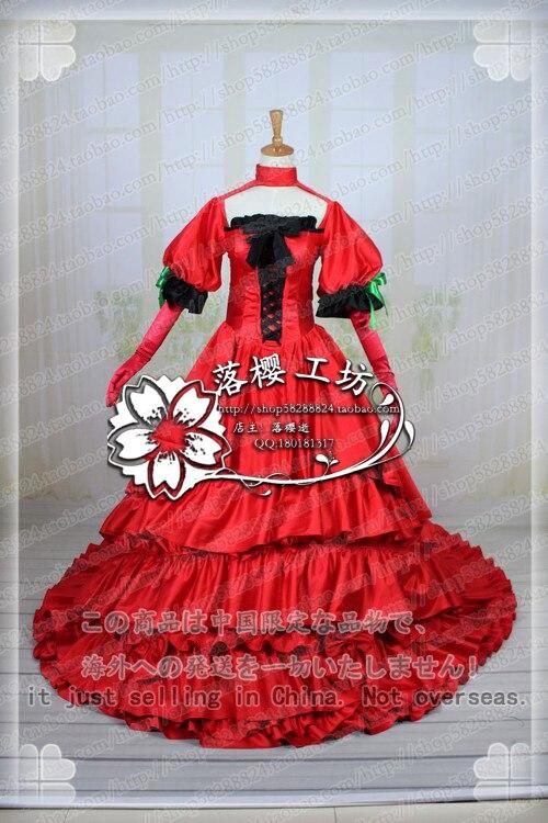 VOCALOID Hatsune Miku Illustration Luxury Dress Halloween Cosplay Costume Red Long Party Dress Uniform Custom-made