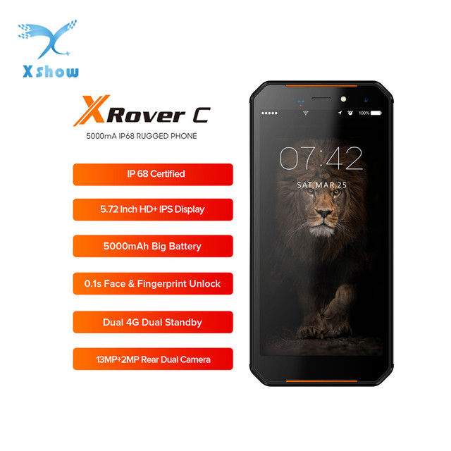 "LEAGOO XRover C IP68 NFC Smartphone 5.72"" IPS 2GB RAM 16GB ROM 13MP Dual Cams 5000mAh Face Fingerprint Unlock 4G Mobile Phone"