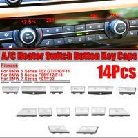 11/ 12/ 14Pcs Chrome Silver Car Button Key Caps Repair Kit A/C Heater Control Switch Button For BMW 5 6 7 Series F10 F01 F18