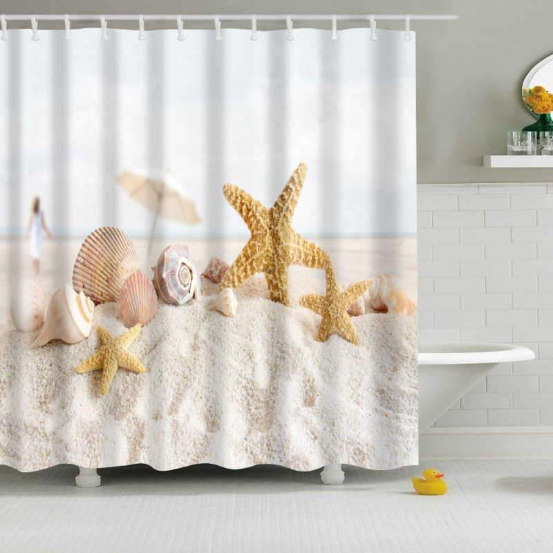 New Colorful Eco-friendly Beach Conch Starfish Shell Polyester  High Quality Washable Bath Decor Shower Curtains