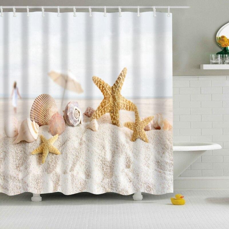Neue Bunte Umweltfreundliche Strand Conch Starfish Shell Polyester Hohe Qualität Waschbar Bad Decor Dusche Vorhänge
