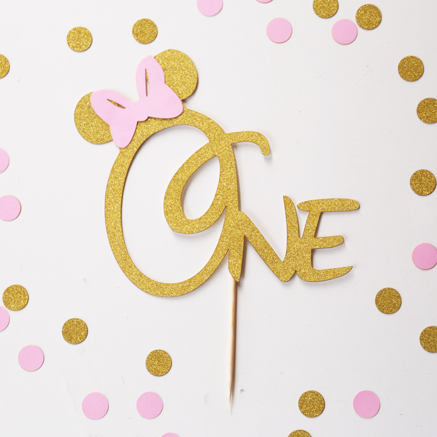 One birthday cake topper, Mouse with pink bow Gold Glitter ...