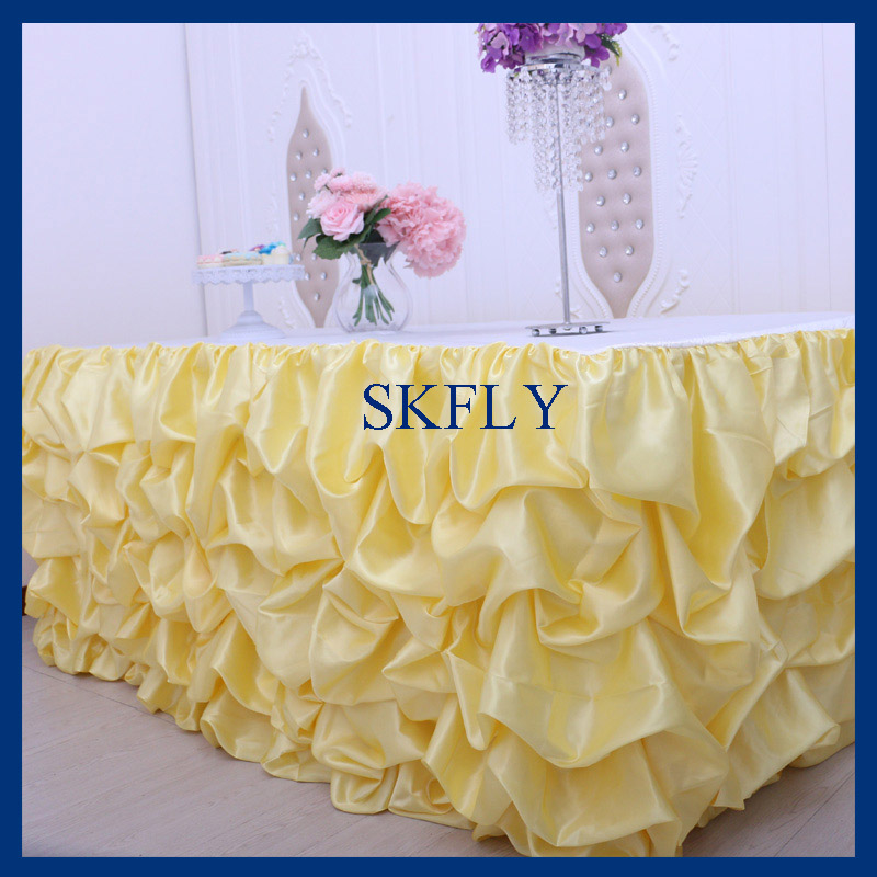 SK002A New 2019 satin ruffled 6ft rectangle 30 wide 72 long 30 drop yellow and white