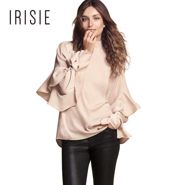 IRISIE Apparel Vintage Casual Female Tops Light Beige Ruffle Slim Women Blouse Shirt Frill Preppy Sweet Chic Women Blouse