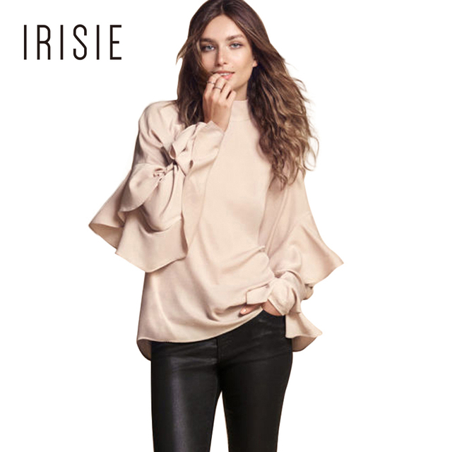 IRISIE Fato Do Vintage Feminino Casual Tops Bege Claro Plissado Fino Camisa Blusa Mulheres Preppy Doce Chic Folho Blusa Mulheres