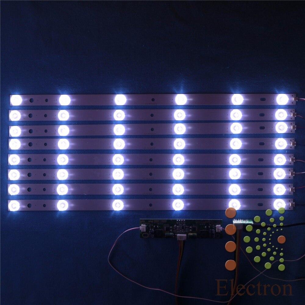 8pcs 440mm LED Backlight Lamps kit Aluminum Board w/ Optical Lens Fliter for 46inch TV Monitor+driver board+DC 12V Mini Tester l32f1500 3d driver board backlight 40 l32p61 drd2