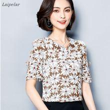 купить 2018 Women Blouses Floral Print Hollow Shirts Fashion Bow Short Sleeve Ladies Chiffon Blouse Casual Loose Shirt Plus Size Tops онлайн