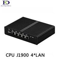 Venta Kingdel i5 J1900 Quad Core PC Industrial mini ordenador 4 LAN con carcasa negra puerto de