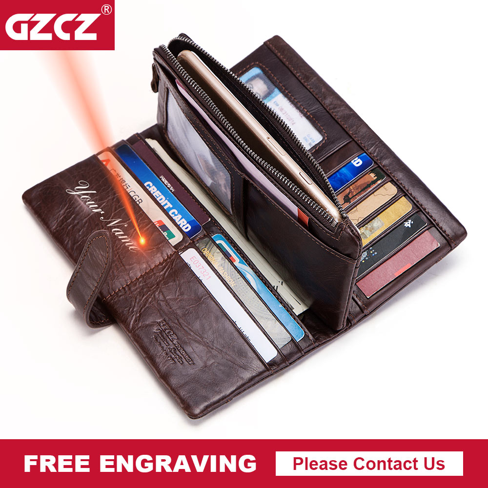 GZCZ Brand Classic Men Wallets Fashion Design Genuine Crazy Horse Leather Walet Long Purse Card Holder Man Vintage Birthday Gift сувенир акм браслет деревянный средний 104 2212 page 4