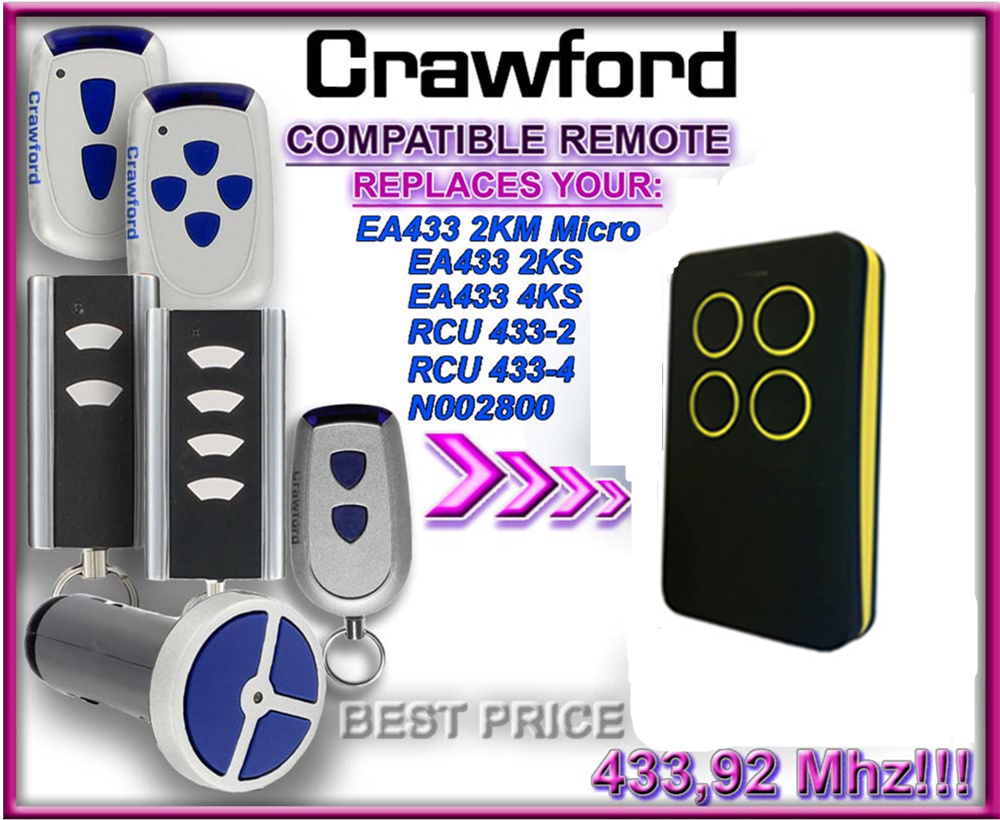 d1a0c981ebe Buy CRAWFORD TX-433 compatible remote control transmitter