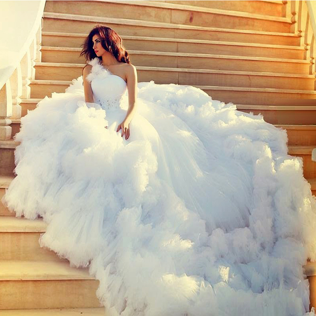 Puffy White Wedding Dresses Backless One Shoulder Beading Cathedral Train Long Tail Custom Made Bridal Gown