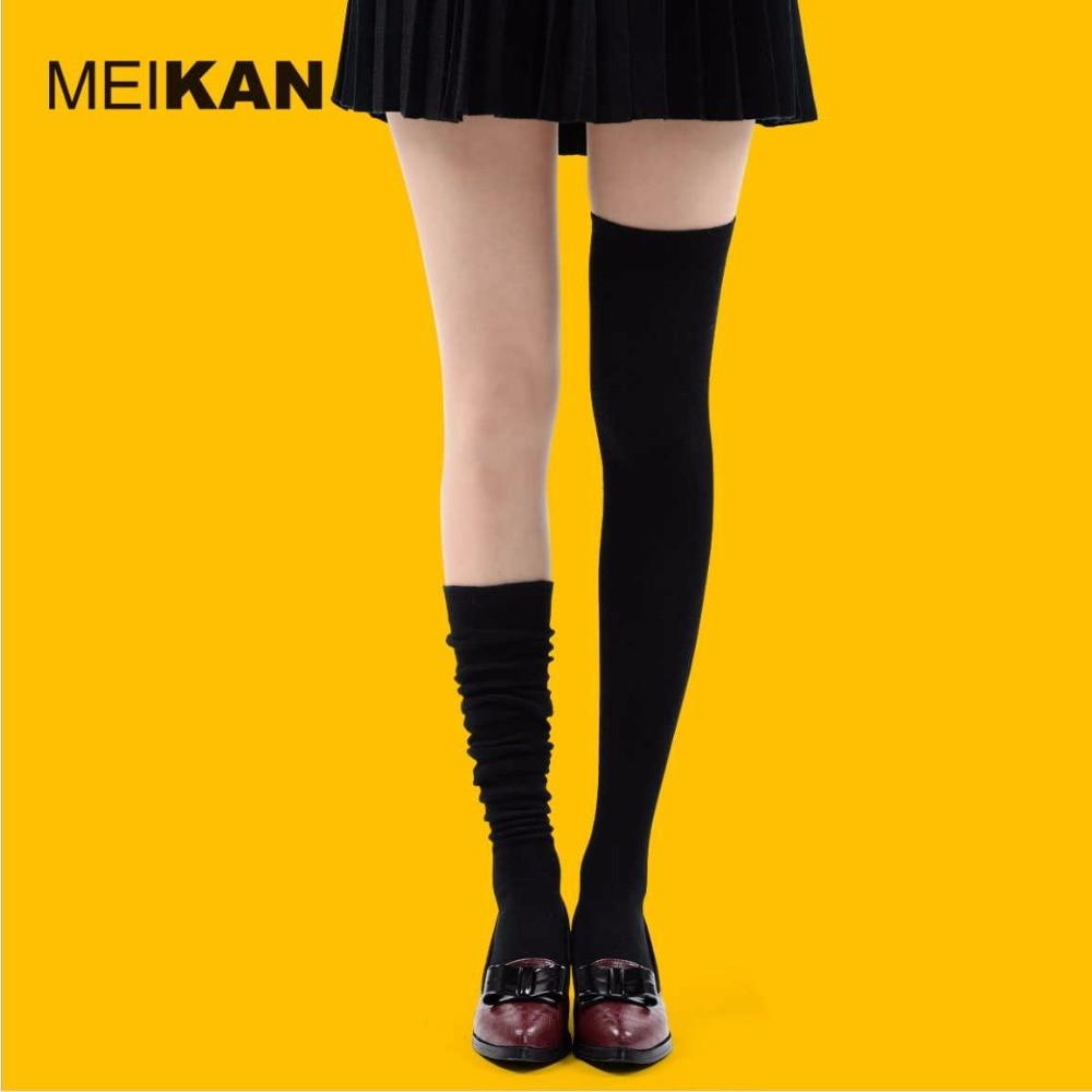 Висококачествен пениран памук над чорапите за коляно Дамски тънък плътен корейски стил бедро висок чорап 35-38 удобни медиа