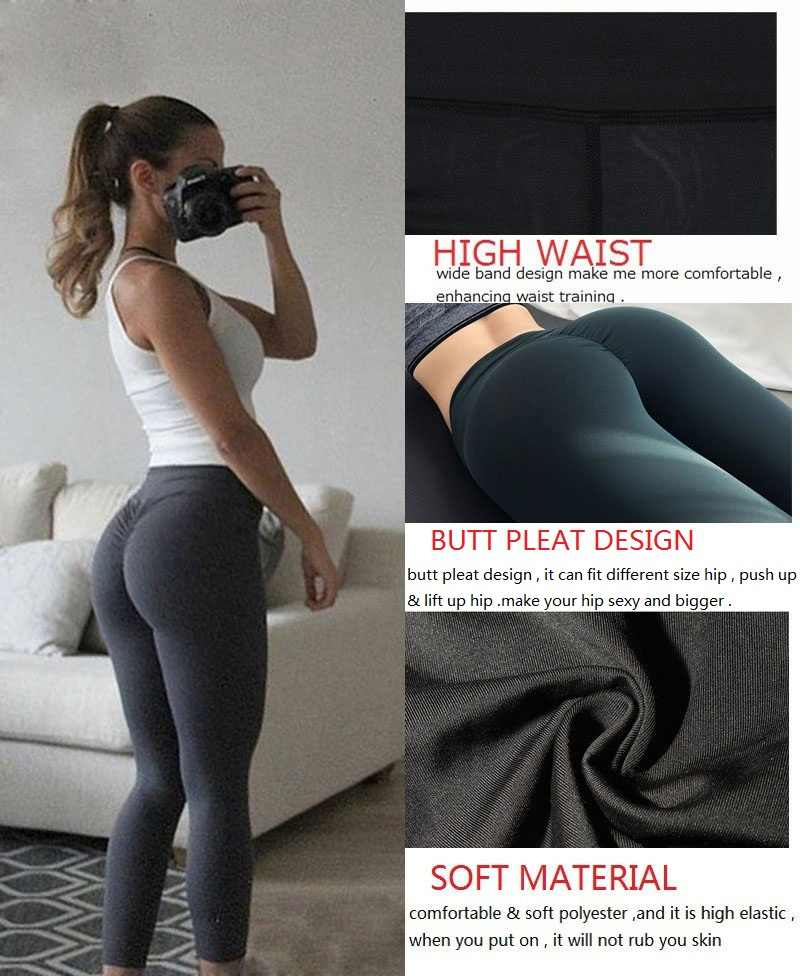 4bbada0ed84da ... NINGMI Sexy Butt Lifter Slimming Pants Fitness Tights Women Ruched Hip  Push Up Leggings High Waist ...