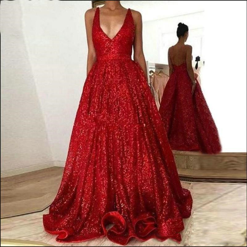 Sequined Red   Prom     Dresses   Girls Cheap 2019 Sexy Deep V-neck Classic Backless Evening   Dress   With Pockets Pageant Formal Gown