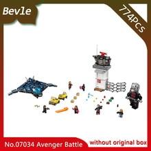 Bevle Store LEPIN 07034 774pcs original box Super Hero Series Airport Battle Model Building Set Blocks Toys For Children Gift