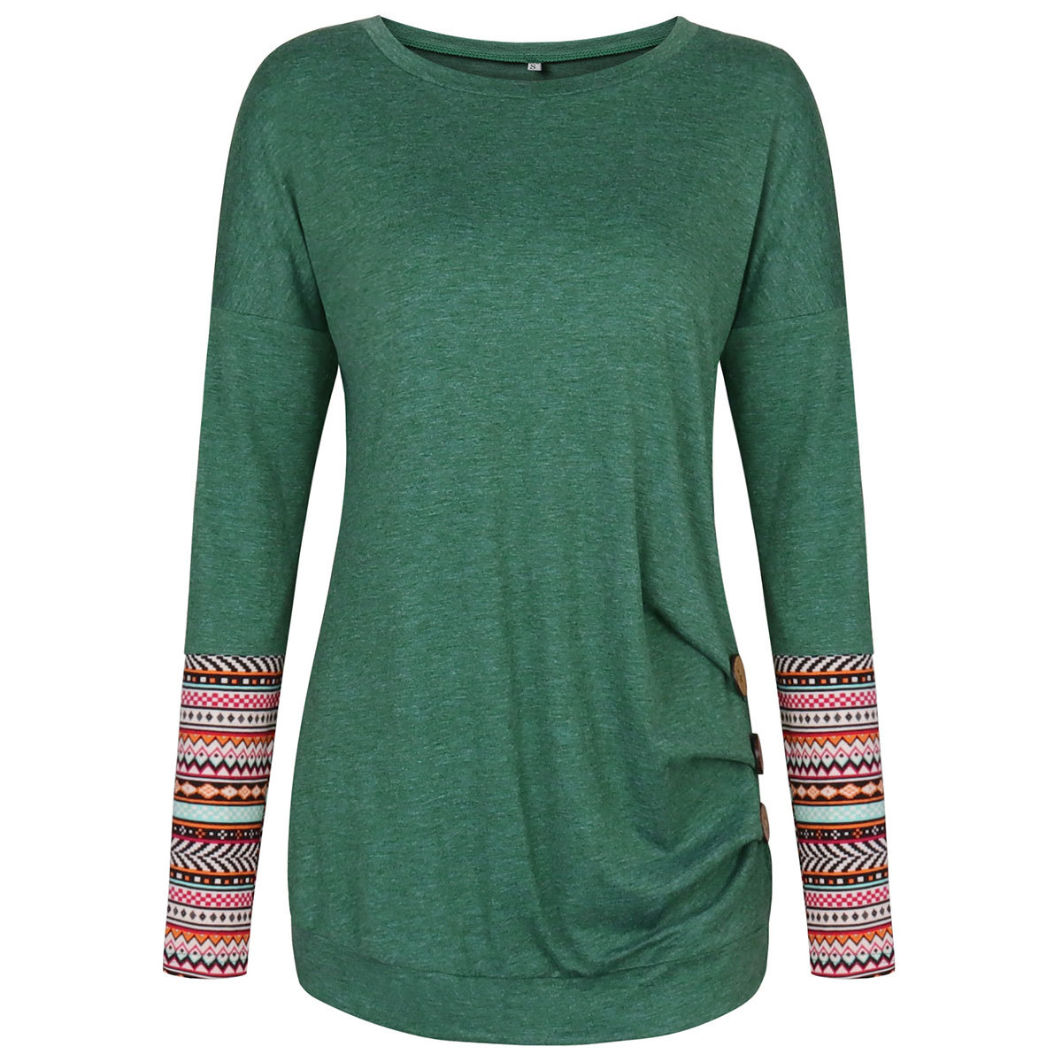 Women Black Top Fashion Button Pleated Long Sleeve T Shirts Brand 2019 Autumn Spring T shirt Casual O Neck Lady Top Green Grey in T Shirts from Women 39 s Clothing