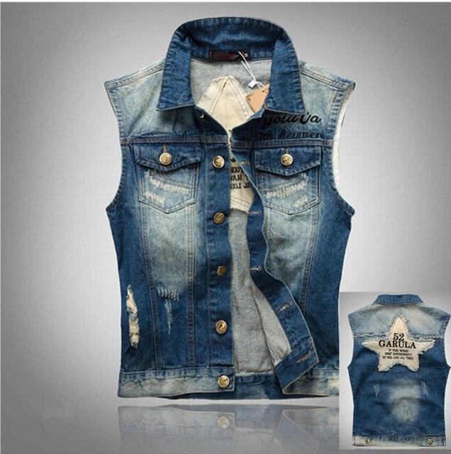 Denim Vest Male Sleeveless Denim Jacket Plus Size Blue Denim Sleeveless Jean Jacket Men Colette Jeans Denim Vest Male 3XL 4XL