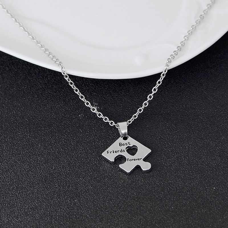 2074e3da892b6 4 Pcs Best Friend Forever Necklace Puzzle Piece Jigsaw Necklace with Hearts  Friendship Necklaces Jewelry Gifts