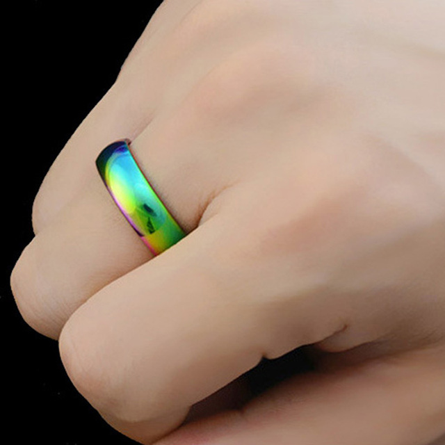 MLMATE Mens Womens Rainbow Colorful LGBT Ring Stainless Steel Wedding Band Lebian & Gay Rings