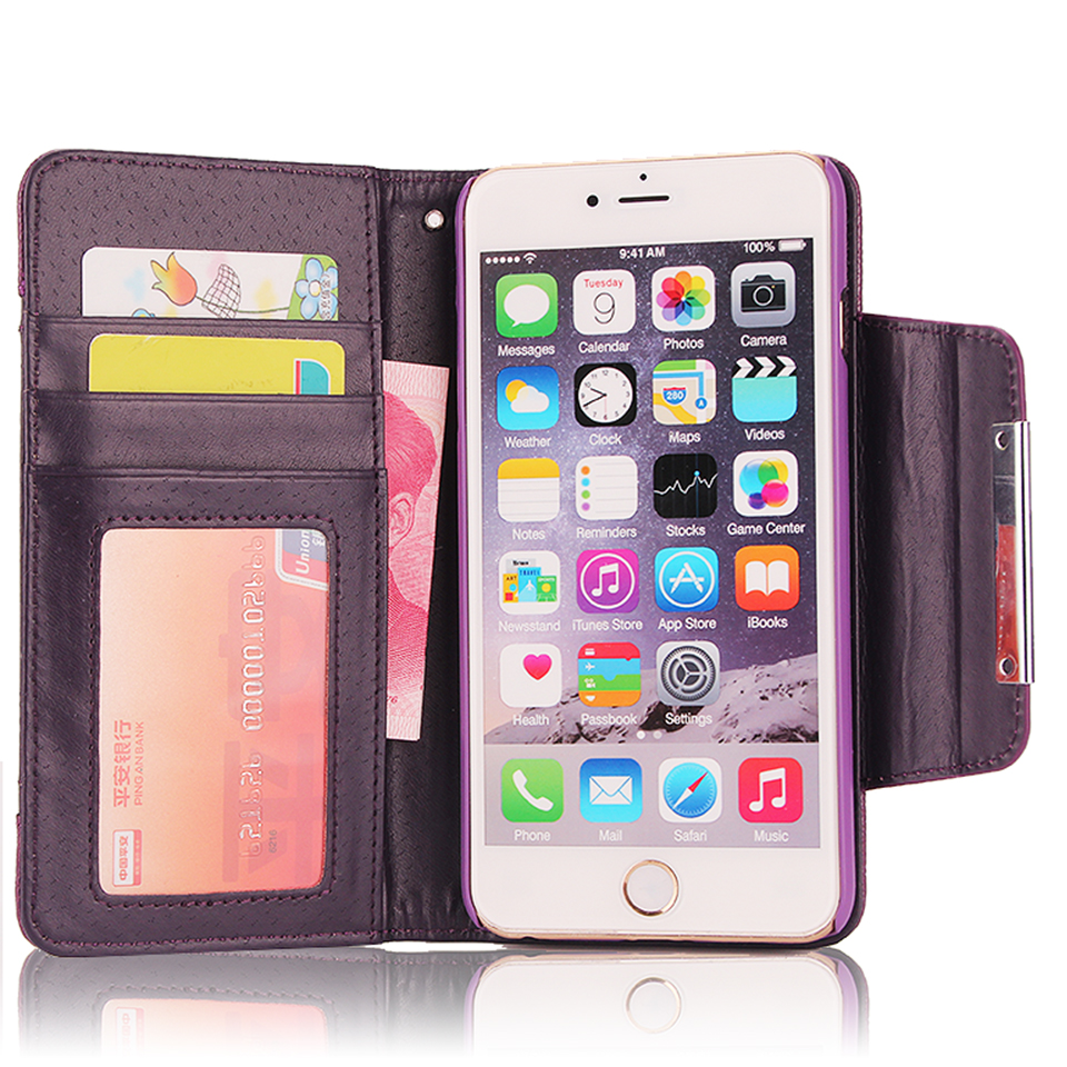 XINGDUO Untuk iPhone 5 s Kasus PU Kulit Dilepas Dompet Balik Kasus - Aksesori dan suku cadang ponsel - Foto 5