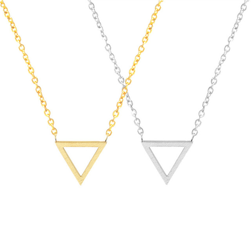 Unique Geometric Simple Triangle Necklace Rose Gold Chain Vintage Jewelry for Women Bijoux Short Choker Necklaces Ladies Jewelry