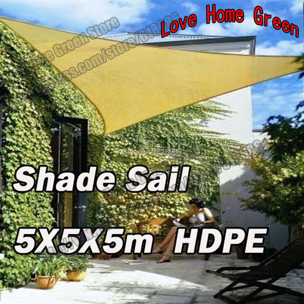 UV Triangular Sun Shade Net Combination Shade Sail HDPE Garden Awning Canopy  5mX5mX5m(China)