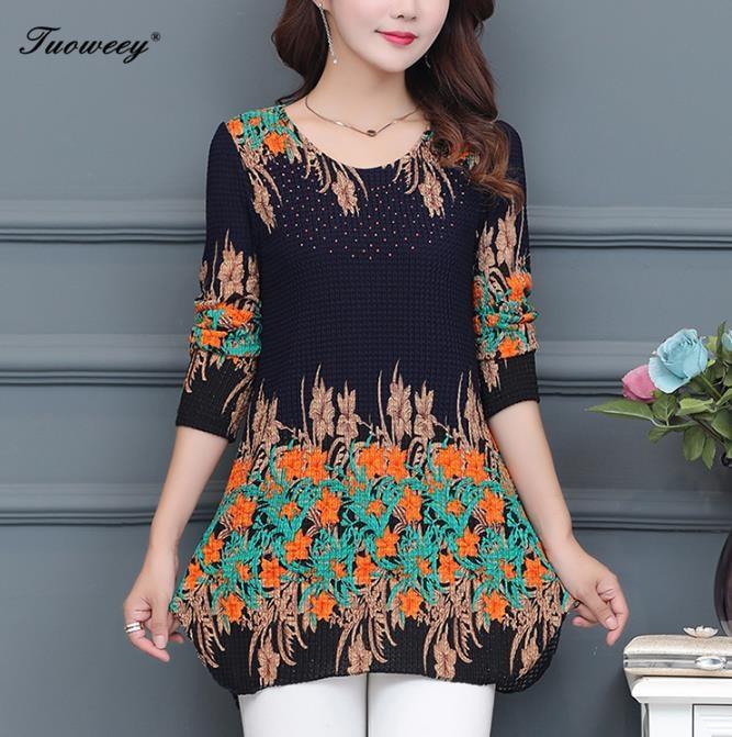 9a26662c377a Blusa suelta Floral de 2019 blusas elegantes de manga larga de otoño  invierno camisa Casual señoras talla grande 4XL Tops estampados Chemise