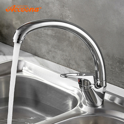 Accoona Chrome Kitchen Faucet Finish Brass Water Power Swivel Spout Vessel Sink Tap Single Handle One Hole A5009 A5050 A5052