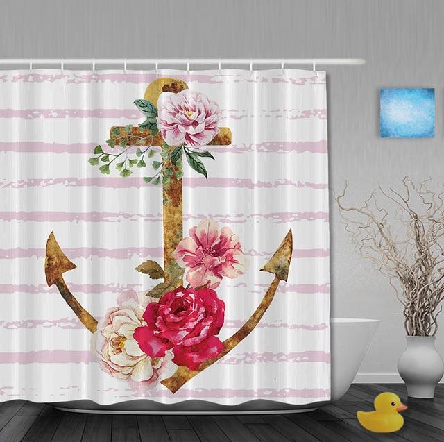 custom cross anker haak de piraten stijl douchegordijn waterdicht polyester douchegordijnen met haken badkamer gordijn