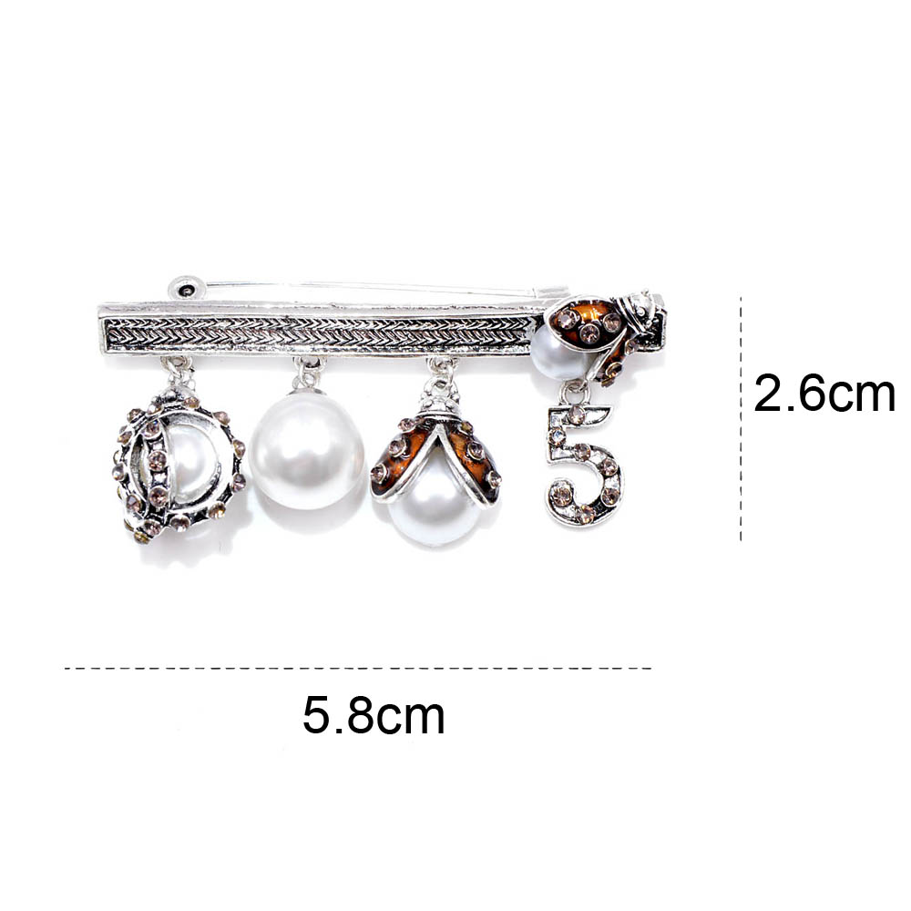 CINKILE Vintage Rhinestone Pearl Four Pendants Brooches for Women Fashion Jewelry Golden Ladybug NO 5 Gorgeous Coat Decoration in Brooches from Jewelry Accessories