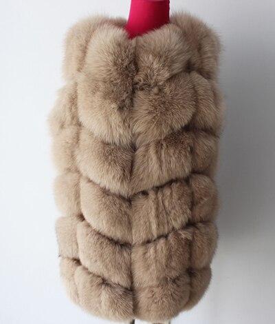 Linhaoshengyue 73 см длинные Высокое качество меха лисы Жилет натуральным лисьим мехом женские жилет - Цвет: light khaki