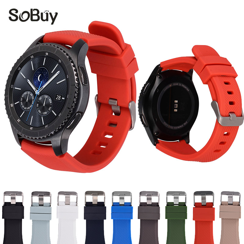 So buy Silicone Watchband for Samsung Gear S3 Classic Frontier 22mm Silica gel Watch Band S 3 sport Strap Replacement Bracelet aoow 22mm watchband for samsung gear s3 classic frontier sport style replacement bracelet band strap for gear s3 camo silicone