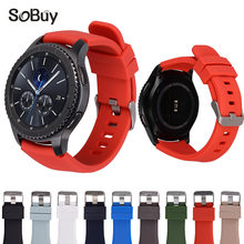 So buy Silicone Watchband for Samsung Gear S3 Classic Frontier 22mm Silica gel Watch Band S 3 sport Strap Replacement Bracelet(China)