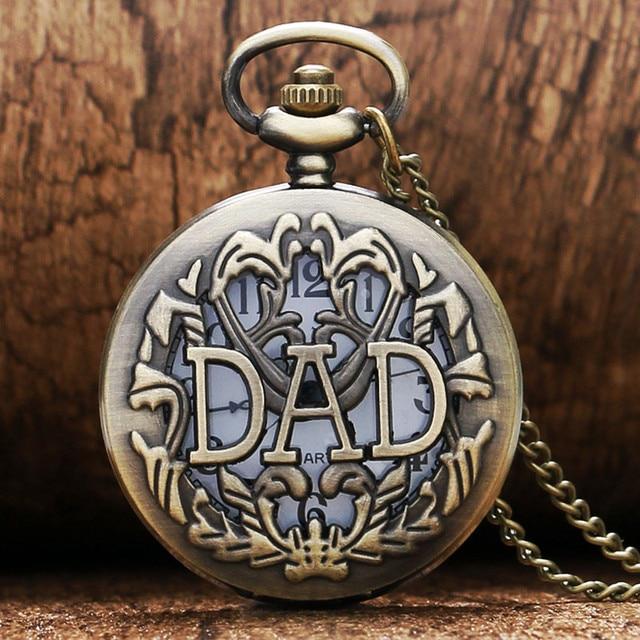DAD Scripts Pocket Watch Hollow Flower Case Slim Necklace Antique Bronze Pendant