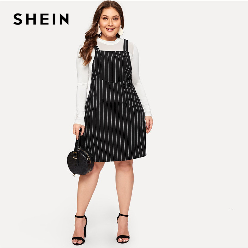 US $10.6 47% OFF|SHEIN Plus Size Black Striped Straps Mini Pinafore Dress  Women 2019 Preppy Style A Line Short Dresses-in Dresses from Women\'s ...