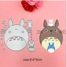 Hot 1pcs Totoro cat Cutting Dies +2PCScarft Tag Stencils for DIY Scrapbooking/photo album Decorative Embossing Paper Cards