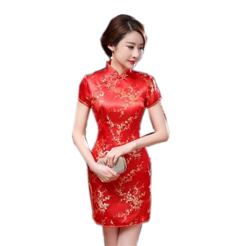 2017 New Red Chinese Women Traditional Dress Silk Satin Cheongsam Mini Sexy Qipao Flower Wedding Dress Size S - 6XL