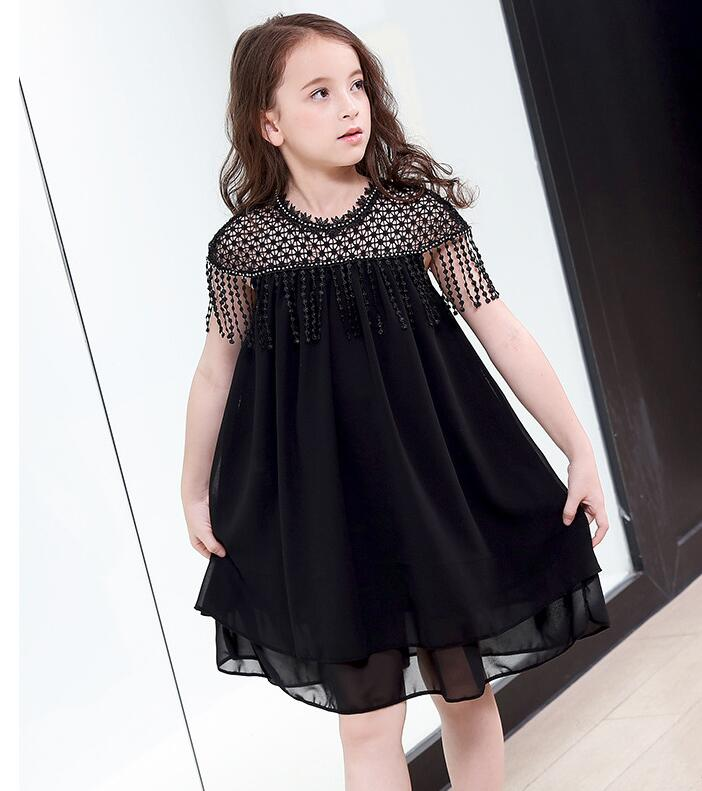 Black Girl Fashion 2019: Big Girl Dress 2019 Summer Girls Fashion Black Tassel