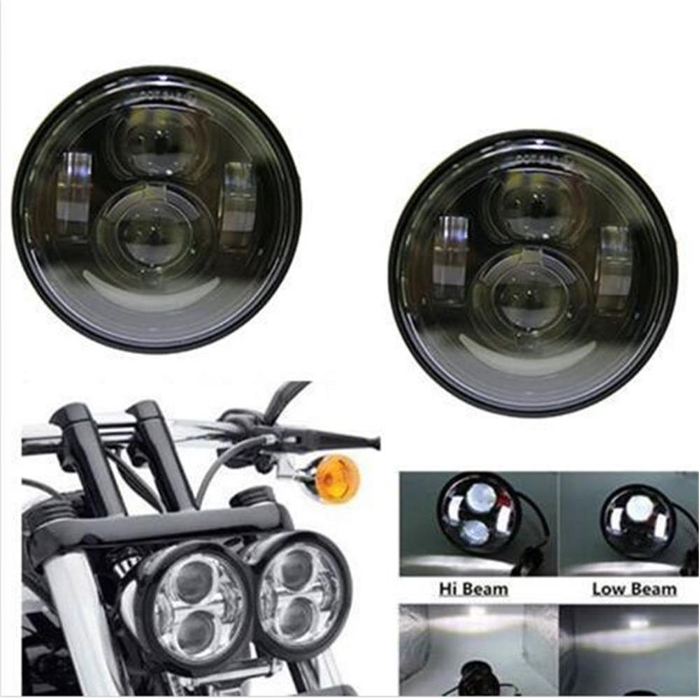 Twin Dual Motorcycle Moto Projector LED Headlight With White DRL For Fits 08-later for Harley Davidson Fat Bob FXDFTwin Dual Motorcycle Moto Projector LED Headlight With White DRL For Fits 08-later for Harley Davidson Fat Bob FXDF