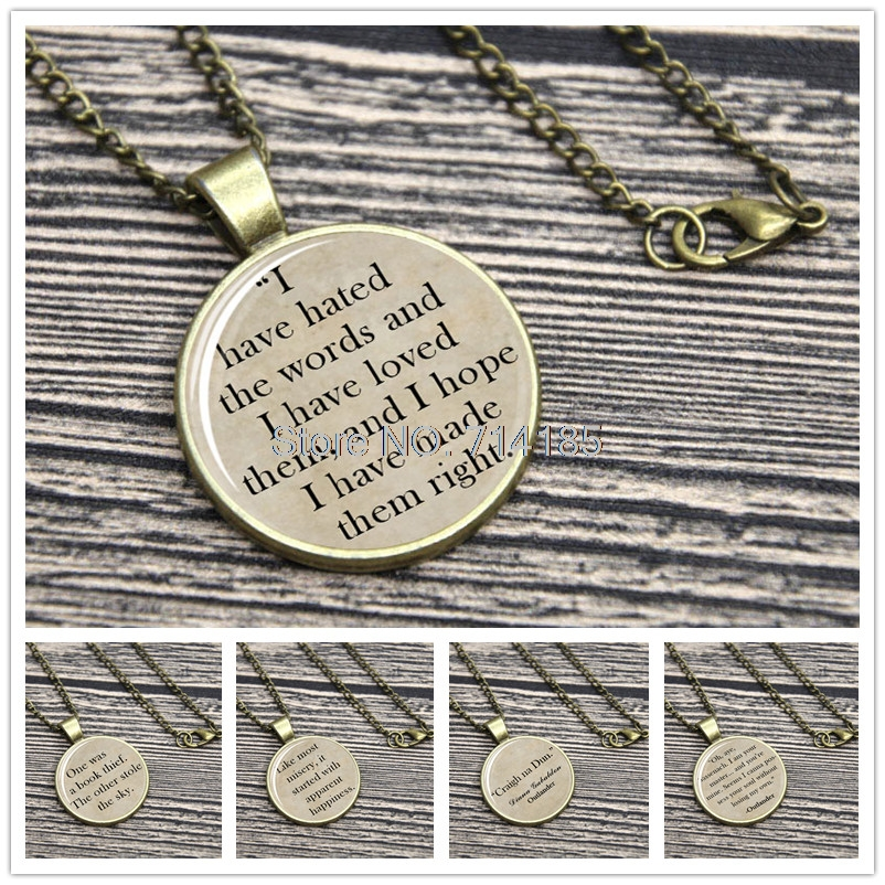 The Book Thief Quote Necklace Keyring Outlander Markus Zusak Diana Abaldon  The Perks Of Being A Wallflower Keychain In Pendant Necklaces From Jewelry  ...