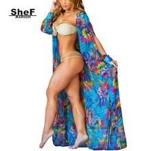 Summer Floral Kimono Cardigan Long Printed Chiffon Blouse Vintage Loose Casual Cardigan Shirt Boho Tops Beachwear big Size