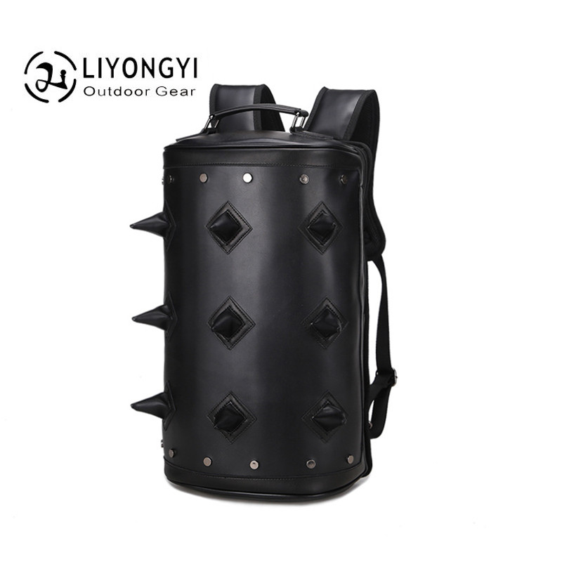 3D Fashion Men Backpack Newest Stylish Cool Black PU Leather Rivet Travel Backpack Male backpacks for teenagers Boys school bags men pu leather backpack crocodile pattern school backpacks for teenagers double shoulder bag black laptop rucksack travel bags