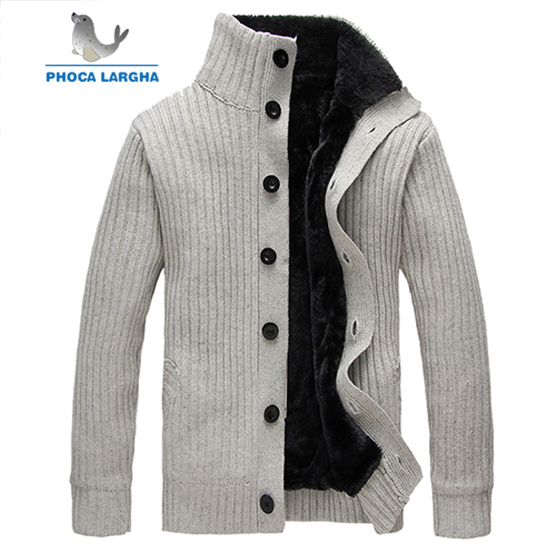 2019 New Men's Fleece Cardigan Sweater Solid Color High Quality Men Sweater Button Homme Cardigan Fashion Outwear Coats Male