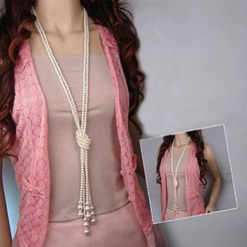 1pcs/lot, 130cm (51 inch) long Knotted pearl necklace women fashion sweater chain clothing accessories jewelry for girl